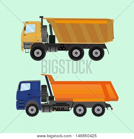 Two large tippers colored in flat style.Vector illustration on a light background