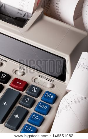 Printing Calculator with Paper Tape Rolled Up