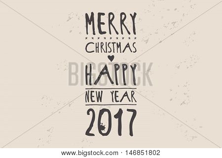 Happy New Year 2017 Hipster Banner Lettering
