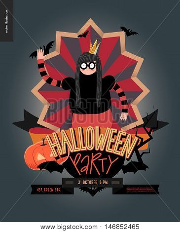 Halloween Party composed sign emblem invitation. Flat vectror cartoon illustrated design of a princess wearing glasses, in center of striped shield, bats, pumpkin jack-o-lantern, ribbon, lettering
