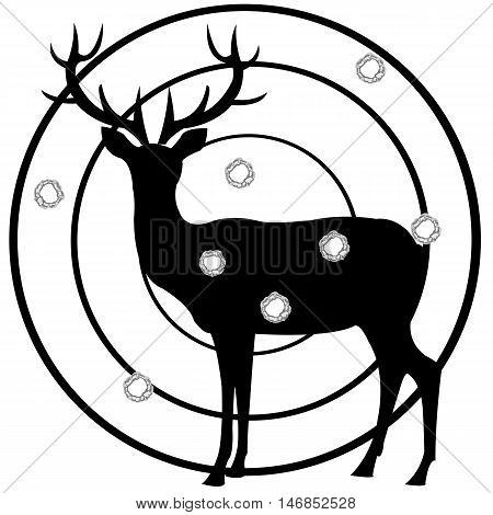 Dartboard of the deer with hole from pool on white background is insulated