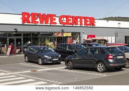 DILLENBURG GERMANY - SEP 8 2016: REWE hypermarket store in the city of Dillenburg Hesse Germany