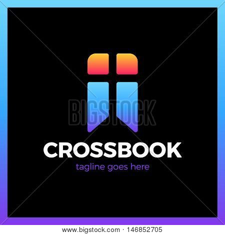 Cross Bookmark Logo. Bible Book Logotype. Simple Church Logos