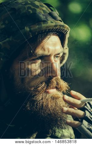 Soldier Smoking Cigarette
