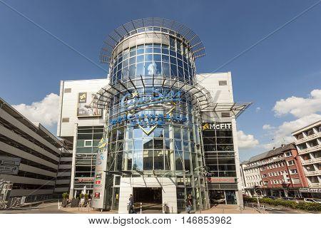 SIEGEN GERMANY - SEP 1 2016: CineStar cinemas at the Reichwalds Ecke building in the city of Siegen. North Rhine Westphalia Germany