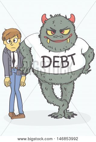 Cartoon of worried, exhausted man and debt monster leaned on him. Funny vector illustration of debt concept.