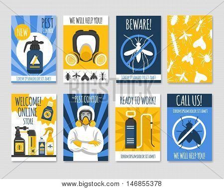 Pest control isolated template set with presentation online store and new pesticide products flat vector illustration
