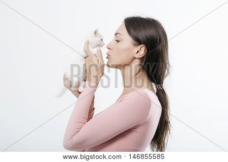 Pretty Woman With Kitten Isolated