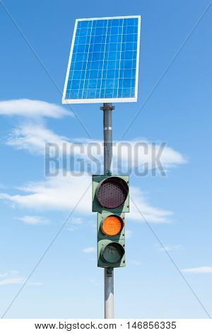 Road Traffic Light And Solar Panel