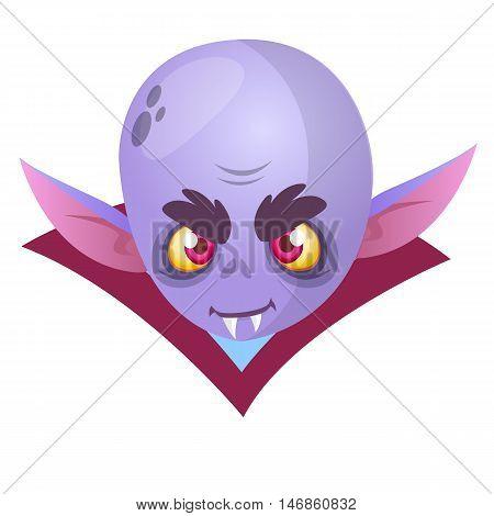 Vampire Face Colored Vector Icon. Halloween cartoon vampire head