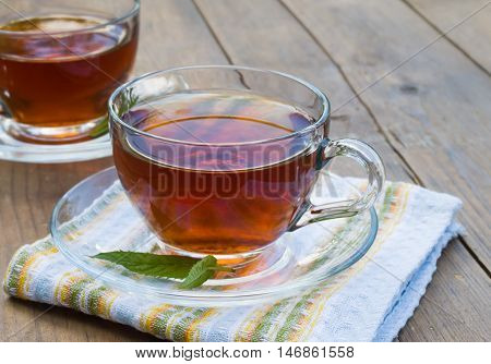 Cup of tea on the wooden table