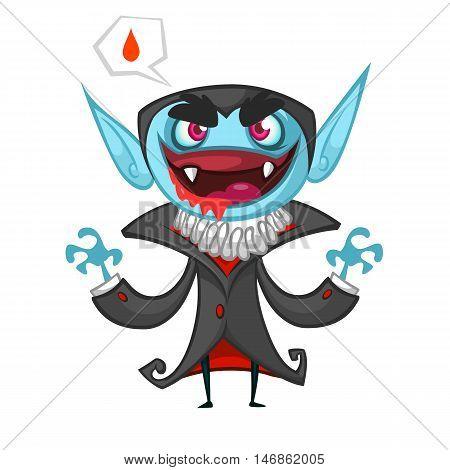Cute cartoon vampire smiling. Vector illustration with speech bubble