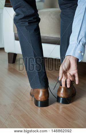 Man wearing shoes rear view high quality and high resolution studio shoot