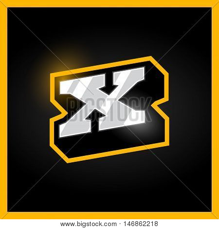 Retro Sport Style Alphabet Letter X For Logo, Titles, Monogram. Metal With Bold Outline Font