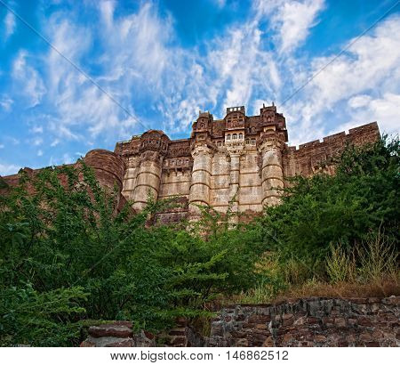 Majestic Mehrangarh Fort in Jodhpur, Rajasthan, India
