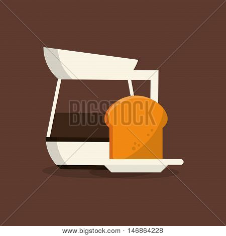 flat design coffee jug  and pastry image vector illustration