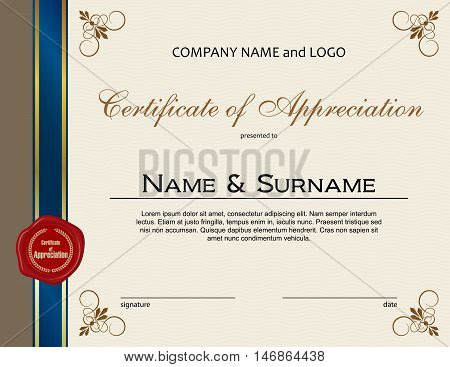 Certificate of Appreciation with red wax seal and ribbon