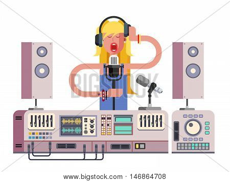Girl singing in sound recording studio. Equipment microphone, technology for musical singer, headphone professional stereo, vector illustration