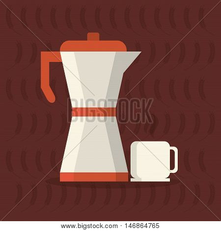 flat design moka pot coffee and pastry image vector illustration