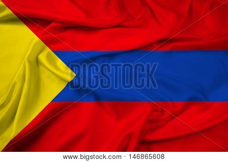 Waving Flag of Pasto Colombia, with beautiful satin background