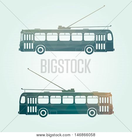 Retro public transport vehicle city transit shorter distance trolley bus side view isolated Green backround.