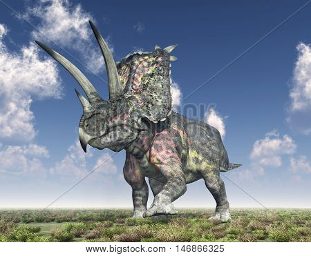 Computer generated 3D illustration with the dinosaur Pentaceratops