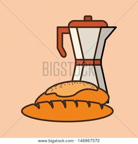 flat design moka pot coffee and pastry image vector illustration