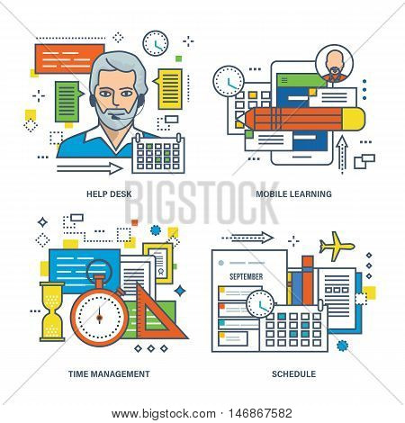 Concept of help desk, mobile learning, time management, timetable of classes. Color Line icons collection.