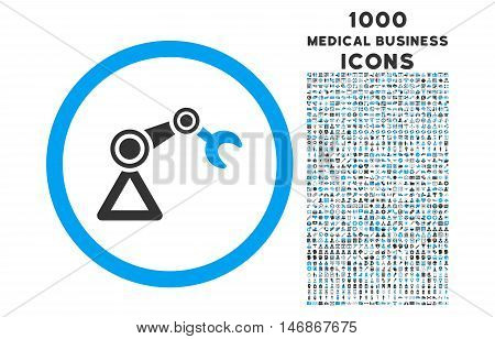 Artificial Manipulator rounded vector bicolor icon with 1000 medical business icons. Set style is flat pictograms, blue and gray colors, white background.