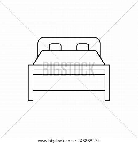 Double bed icon in outline style on a white background vector illustration
