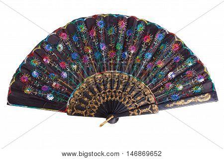 Vintage opened folding fan isolated on white background