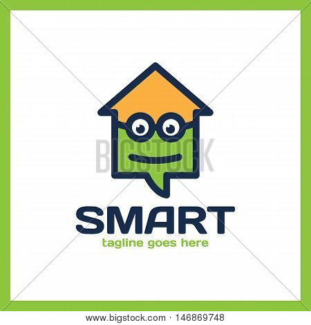 Simple Minimalist Logotype. Smart Geek Home In Glass With Bold Outline. Arrow Up House Chat