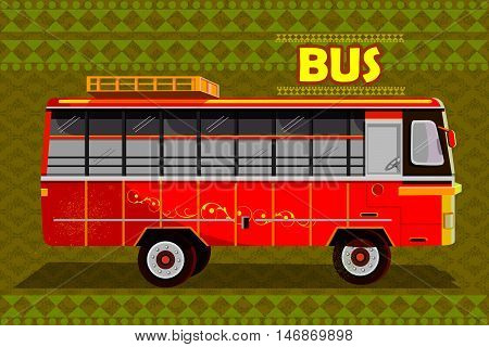 easy to edit vector illustration of Indian Bus representing colorful India