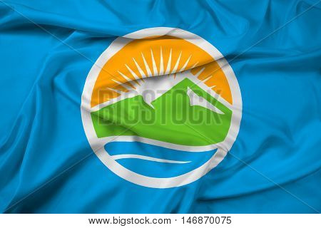Waving Flag of Provo Utah USA, with beautiful satin background