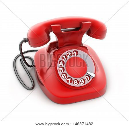 Red old telephone on white background (done in 3d rendering)