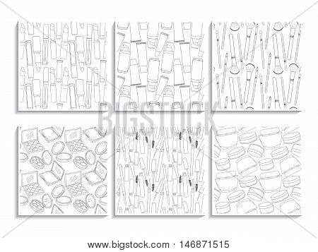 Makeup Patterns Cosmetic Doodle Textures Set White