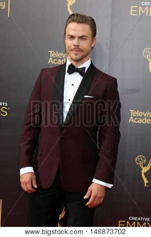 LOS ANGELES - SEP 11:  Derek Hough at the 2016 Primetime Creative Emmy Awards - Day 2 - Arrivals at the Microsoft Theater on September 11, 2016 in Los Angeles, CA