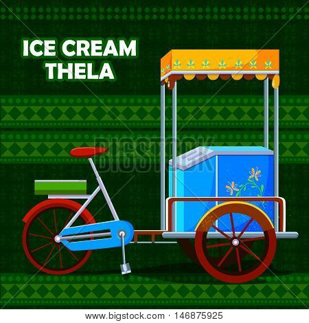 easy to edit vector illustration of Indian Ice cream cart representing colorful India