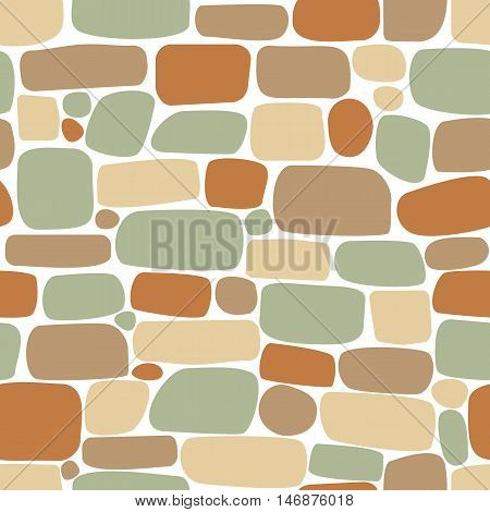 Seamless Pattern Of Colored Stones. Wall Of Bricks