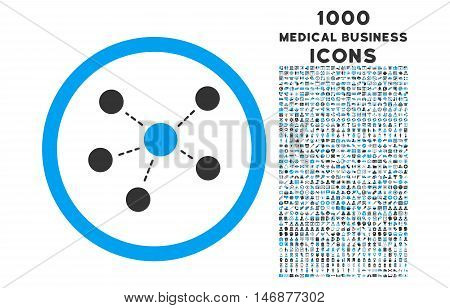 Connections rounded vector bicolor icon with 1000 medical business icons. Set style is flat pictograms, blue and gray colors, white background.