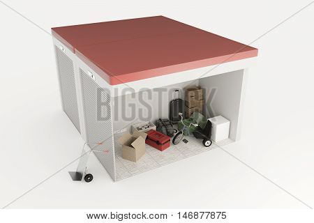 3d illustration of self storage units section isolated on white background