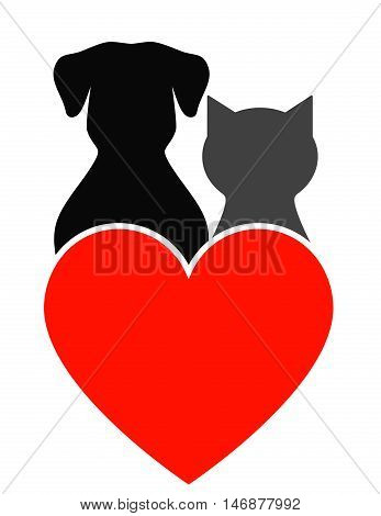 Dog, Cat And Heart