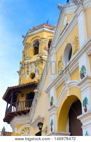 View of Santa Barbara church in the UNESCO World Heritage site of Mompox Colombia