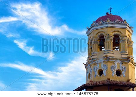View of the spire of the Santa Barbara church in Mompox Colombia