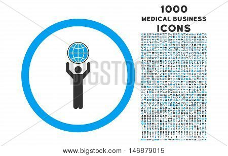 Globalist rounded vector bicolor icon with 1000 medical business icons. Set style is flat pictograms, blue and gray colors, white background.
