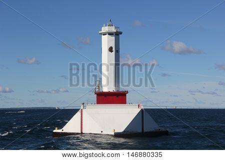 Round Island Passage Light in Straits of Mackinac, Michigan