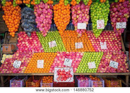 COLOMBO SRI LANKA - FEBRUARY 16 2016: Fresh fruits in booth on Colombo city market