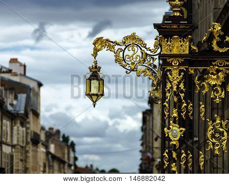 Beautiful Golden Covered Street Lamp In Nancy