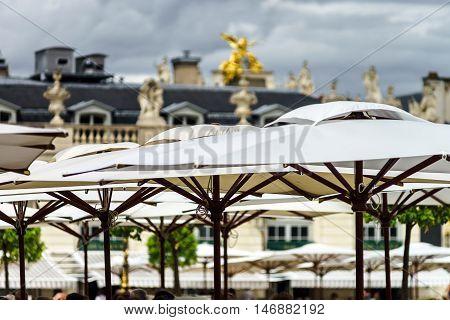 Sun Umbrellas Of The Street Cafe In Nancy