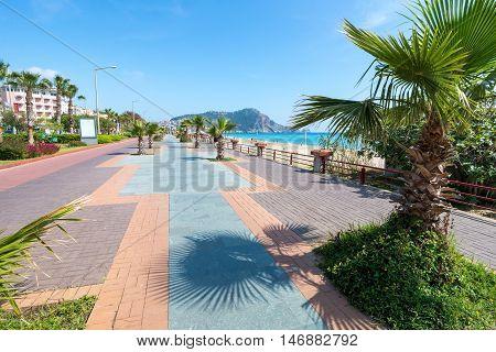 ALANYA TURKEY - MAY 2 2015: Alanya - Cleopatra beach. Long boardwalk and bike path Turkey